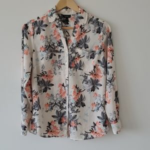 Talbots Nantucket Floral Banded Collar Blouse MP